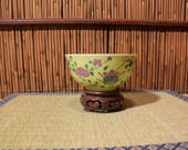 Antique Chinese Famille Rose Porcelain Rice Bowl Yellow Imperial Green