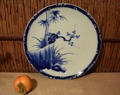 Antiques Japanese Blue And White Imari Porcelain Charger Plate Handpainted Bamboo Cherry Blossom 12 Inches