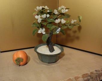 Glass bonsai tree etsy large vintage japanese glass white camillia bonsai tree 10 inches tall mightylinksfo