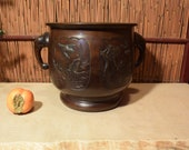 Large Japanese Meiji Period Bronze Censer Incense Burner w Handles Bird Four Season Panels