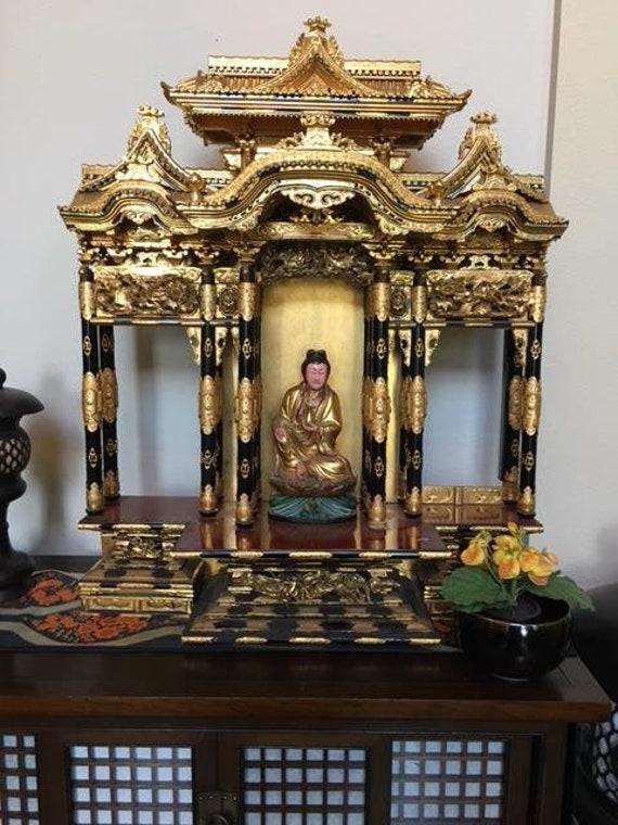 Japanese Butsudan Shrine MINI Buddhist Alter LIGHT BROWN