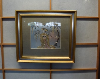 Vintage Japanese Chokin Art of Geisha With Wisteria Branch Picture Framed