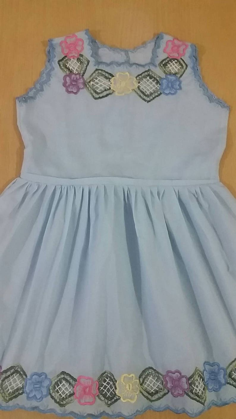 eec37b4b89c55 Sky blue dress for girl from 2 to 3 years. April promotion: free shipping  within Mexico.
