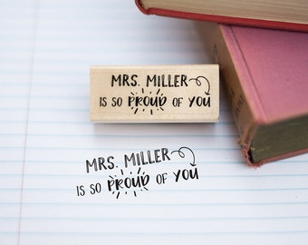 So Proud of You Customizable Teacher Stamp - Teacher Appreciation Gift - Teacher Gift - Teacher Grading Stamp - T3
