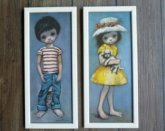 Vintage Mid Century Ozz Franca Big Eye Children - Pair Of Framed Glazed Prints Boy And Girl