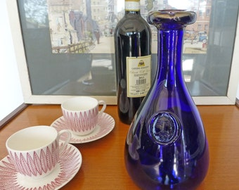 Mid Century 1950s  Danish Holmegaard  Cobalt Blue Glass Viking Decanter Designed By Ole Winther