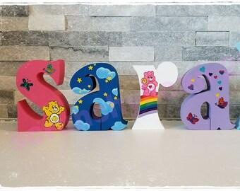 Shelf sitting letters Letter blocks Free standing letters Custom Baby Wood Letters Kids free standing letters Care Bears letters names