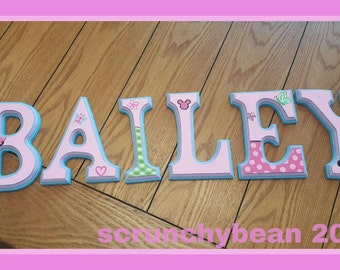 6 Inch Custom Hand Painted Wall Letters. Minnie Mouse. Personalized Baby Nursery Wall Name Wall Letters Wall Names. Nursery Decor