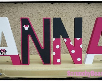 Minnie mouse painted letter Disney name letters Free standing letters Baby name Baby room letters Shelf letters Kids name Custom letters