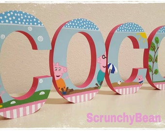 Peppa Pig painted letter Peppa name letters Free standing letters Baby name Baby room letters Shelf letters Kids name Cartoon custom letters