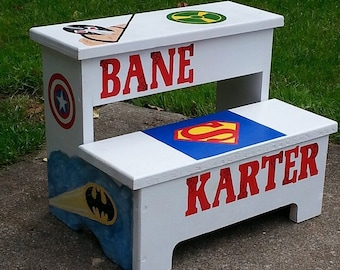 Custom hand painted two step stool, childs step stool, personalized toddler stool, kids foot stool, double foot stool,childrens foot stool