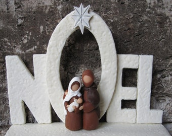 NATIVITY. Christmas. Noël. Mary, Jesus, Joseph. Holy family. cold porcelain saeljana