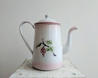 French Coffee Pot in Pink Enamelware, With Cherry Design