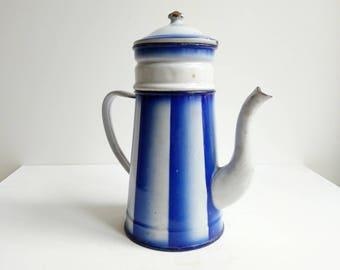Vintage Pitcher - Vintage Coffee Pot - Vintage Enamelware - Enamel Pitcher - Blue Pitcher - Blue Enamelware - Vintage French Enamelware