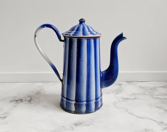 French vintage pitcher - French enamelware pitcher - vintage enamelware - French enamelware - blue enamelware - blue pitcher