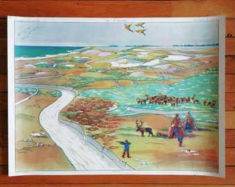 French Vintage School Poster of Arctic and Tundra