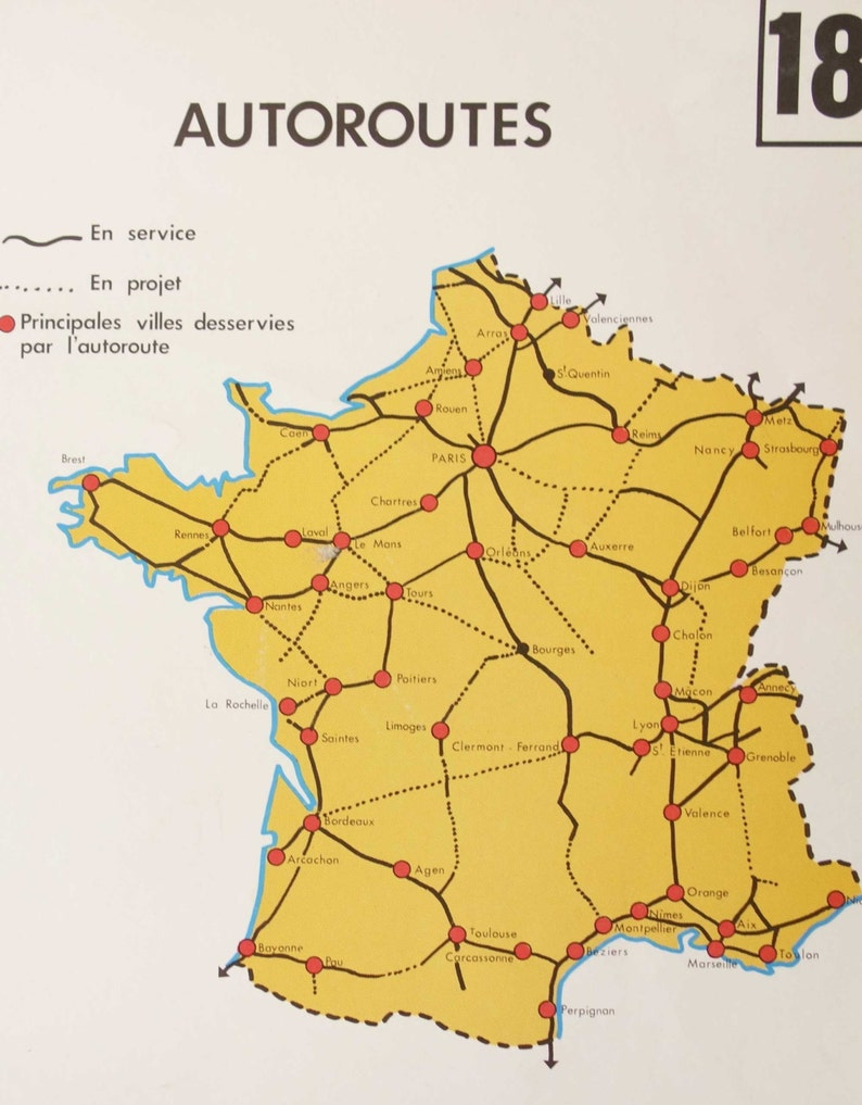 Map Of France Showing Nice.Vintage School Map Of France Showing The Highways And Canals