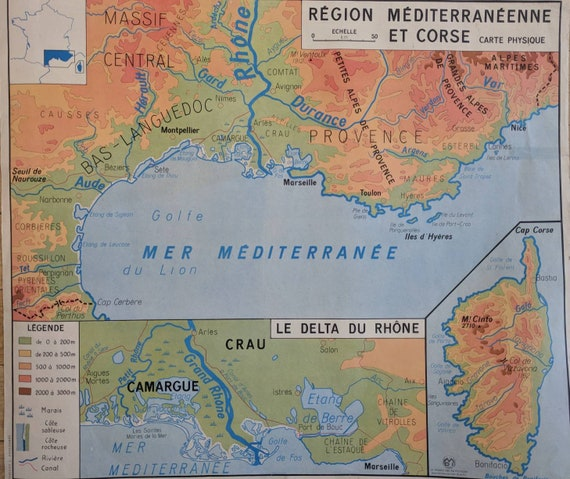 Map Of France Coast.Vintage School Map Of France The Alps And The Mediterranean Coast