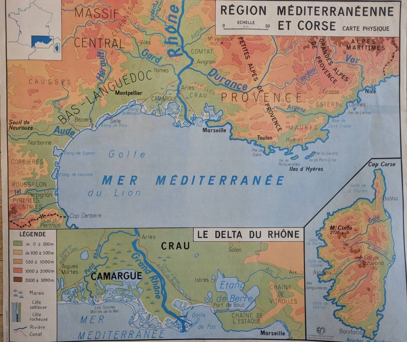 France Map Vintage French Map Vintage Map Of France Etsy