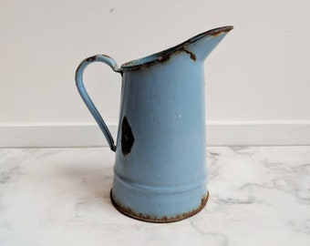 Blue enamelware vintage pitcher - French vintage vase - French enamelware pitcher - French blue enamelware vase - blue pitcher