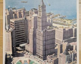 French Vintage Minimalist Poster of City Illustration