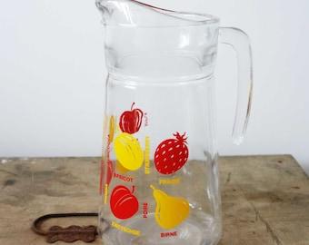 French vintage pitcher, glass pitcher, vintage pitcher, fruit pitcher