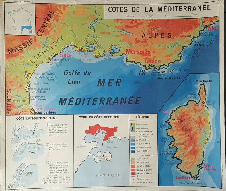 Map Of France Mediterranean Coast.France Map Vintage French Map Vintage Map Of France Etsy