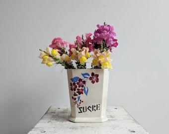 """Vintage French Enamelware Ceramic Spice Jar, """"Sucre"""" (Or Sugar)"""