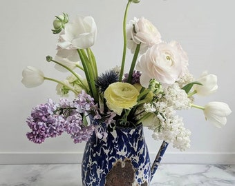 French Vintage Pitcher, French Vintage Vase, French Enamelware Pitcher - Enamelware Vase - Blue Enamelware