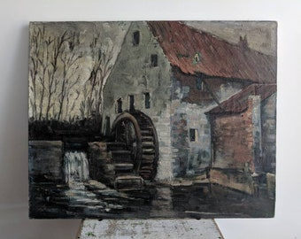 Vintage French Landscape Painting on Canvas of Water Mill