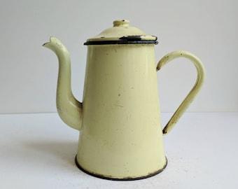 Vintage Pitcher - Vintage Coffee Pot - Vintage Enamelware - Enamel Pitcher - Yellow Pitcher - Yellow Coffee Pot - Vintage French Enamelware