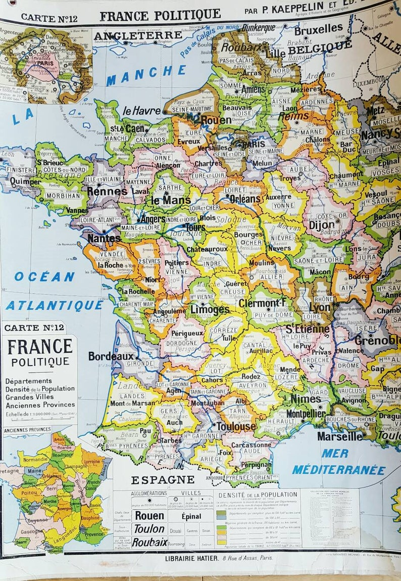 Map Of France French Map French School Map French Etsy
