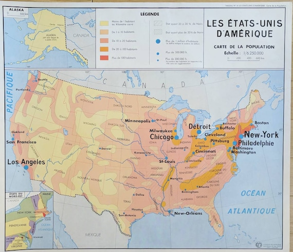 Usa And Russia Map.Map Of Usa French Map Of Us French School Map French Etsy
