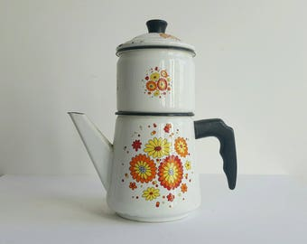 Vintage French Coffee Pot in White Enamelware, Perfect for MCM Kitchen