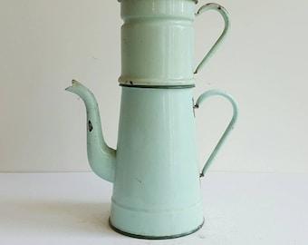 Vintage Pitcher - Vintage Coffee Pot - Vintage Enamelware - Enamel Pitcher - Green Pitcher - Green Coffee Pot - Vintage French Enamelware