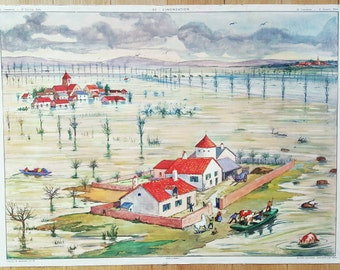 Vintage French School Poster, Showing Floods and Rivers