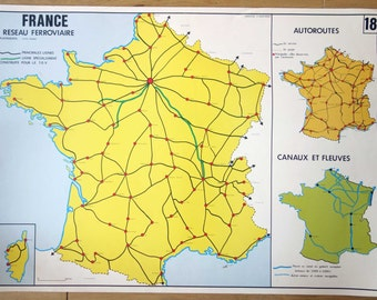 Vintage School Map of France, Showing the Highways and Canals