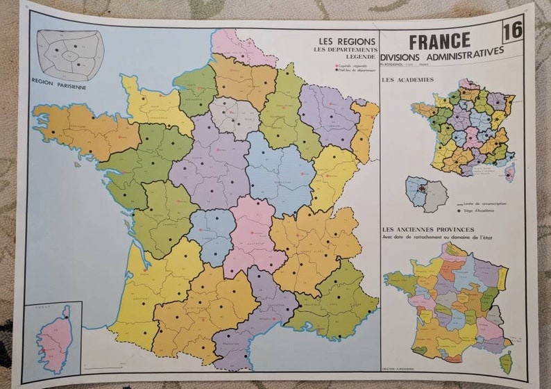 Map Of France Showing Nice.France Souvenir Art Beautiful Vintage Map Of France