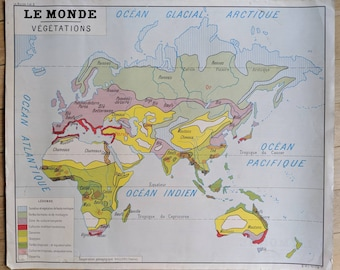 French vintage double-sided map of the world