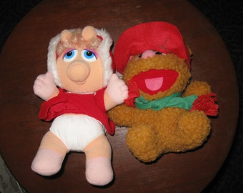 Baby Fossie Bear and Baby Miss Piggy 1987 stuffed toys Henson Associates Inc.
