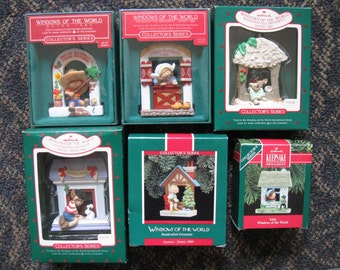 Hallmark Keepsake Windows of the World complete international series date 1985-1990 NEW in box NEVER displayed