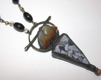 1860s pottery shard with Agate wearable found object by Past Objects Art handmade in NYC
