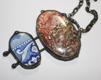 Jasper healing stone with antique pottery fragment wearable art  by Past Objects Art handmade in NYC