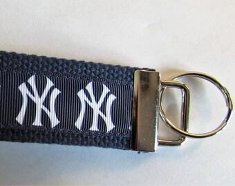 "NEW YORK YANKEES  Wristlet Key Fob/Chain with 1 14"" Cotton Webbing and Grosgrain Yankee Logo Ribbon"
