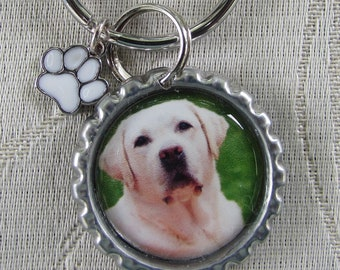 """Double Sided """"I Love My Lab"""" Metal 1""""  Bottle Cap Key Ring/Holder with Labrador Retriever  photo and PAWS Charm"""