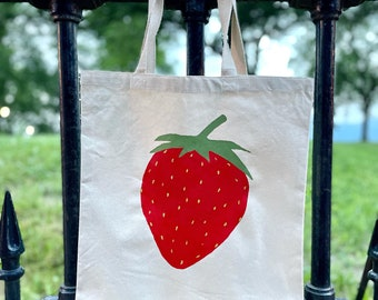 Hand-painted Strawberry tote