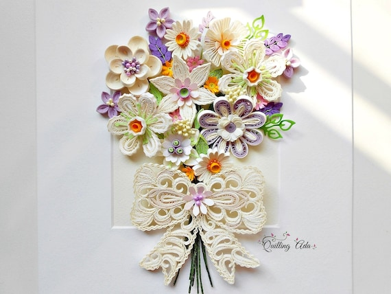 Fiori Quilling.Quilling Paper Bouquet Flowers Birthday Gift Wedding Etsy