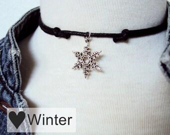Snowflake Winter Necklace, Snowflake Choker