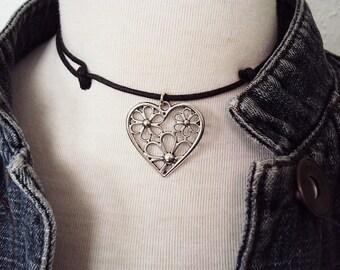 Bohemian Silver Flower Heart Necklace