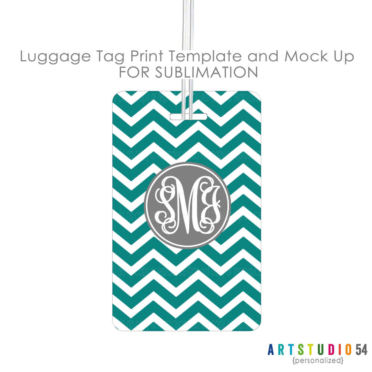 Sublimation Luggage Tag Print And Mock Up Template Digital Etsy